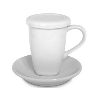 Tea csésze+szűrő+tányér fehér