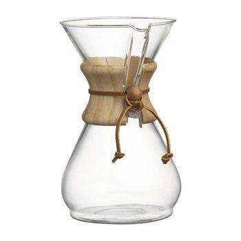 Klasszikus Chemex kávékészítő üvegedény 8 csészés