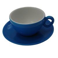 Inkerpor Cappuccino csésze+tányér 250 ml kék/sárga/menta/piros/rózsaszín/narancs
